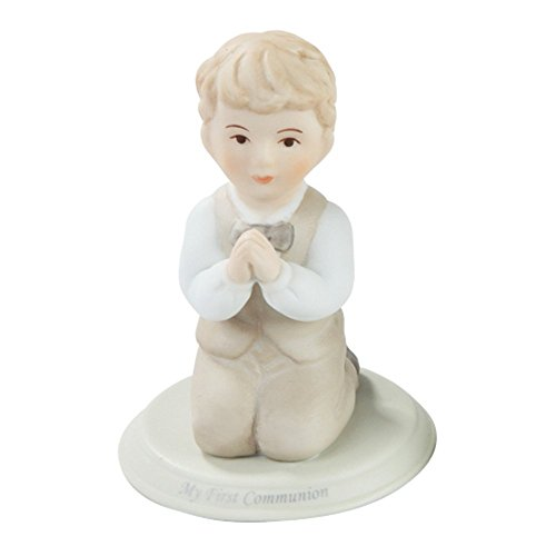 Pacific Giftware First Communion Little Boy Praying on Knees Statue Fine Porcelain Figurine, 5.25