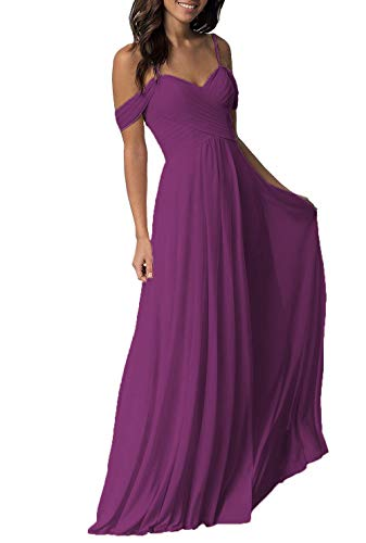 (Women's Raspberry Wedding Bridesmaid Dresses Long Cold Shoulder Chiffon Formal Evening Prom Dress)