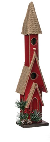 Holly Berry Snow Red 16 Inch Burlap Wood Decorative Birdhouse by Sullivans