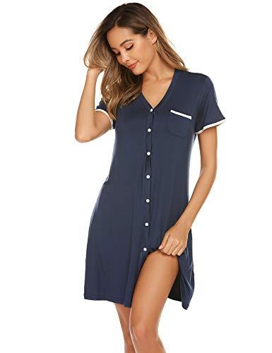 Ekouaer Women's Casual V Neck Nightshirt Short Sleeve Nightgown Navy Blue XL
