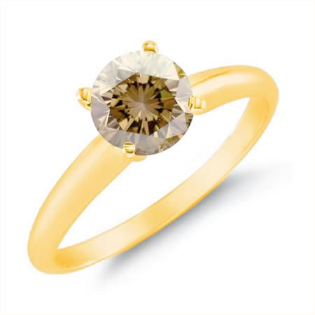 1 CT Champagne Diamond Solitaire Ring 14K Yellow Gold In Size 7 (Available In Sizes 5 – 10)