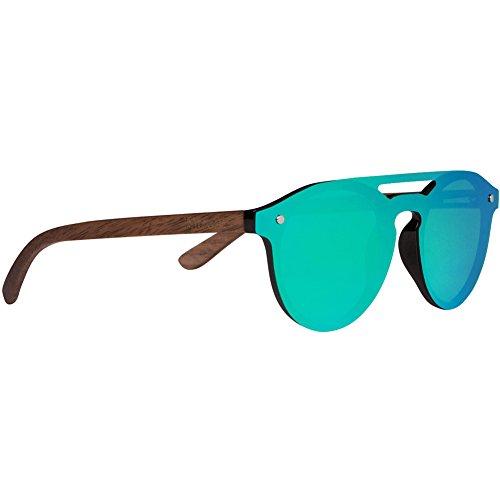 Woodies Walnut Wood Aviator Style Sunglasses with Flat Mirror Polarized Lens (Green)
