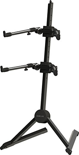 Quick Lok SL-930 Fully Adjustable Double-Tier Slant Keyboard Stand with Nylon Bag, Black
