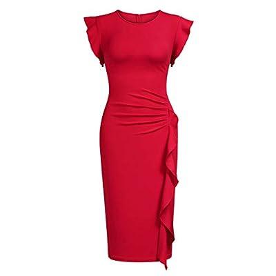 Miusol Women's Business Retro Ruffles Slim Cocktail Pencil Dress at  Women's Clothing store