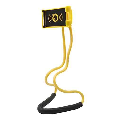 Dolland Cell Phone Mount Holder Neck Pendant Stand, Universal Mobile Phone Stand, Lazy Bracket, DIY Free Rotating with Multiple Function,Yellow