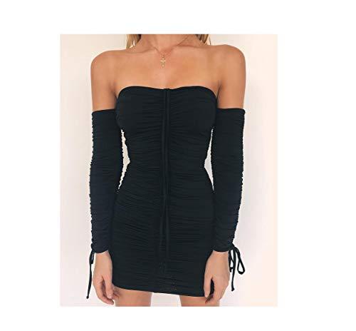 Cat Women Bandage Dress Women Shoulder Long Sleeve Slim Elastic Bodycon Party Dressess,Black,M ()
