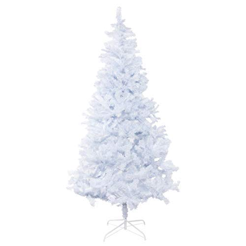Bocca 7 FT Christmas Tree Atificial Premium Pine Full Tree with Metal Leg 1200 Tips (White, 7FT)
