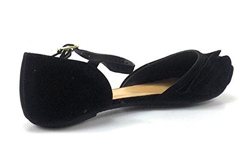 Bambou Femmes Casual Slip On Ballerines Mocassins En Daim Confort Bateau Chaussures Noir-su