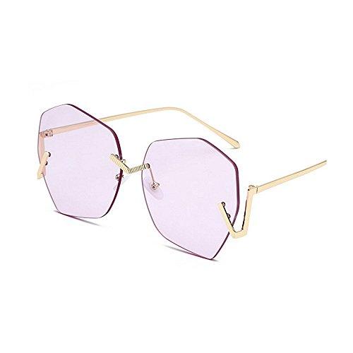Femmes de Monture Yxsd Silver Couleur Rétro UV400 Soleil Lunettes Hommes Pink Surdimensionnées Mode sans wCqY1xq5F