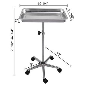 NEW LEAF Mayo Instrument Stand with Removable Tray 5 Legs