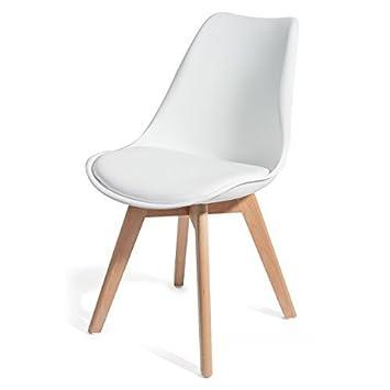 Homekraft BREKKA Wohnzimmerstühle Esszimmerstühle Designerstühle Sitzgruppe  Essgruppe (4er Set, Weiß)