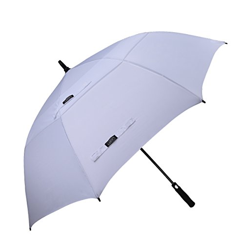 G4Free 62 Inch Automatic Open Golf Umbrella Extra Large Oversize Double Canopy Vented Windproof Waterproof Stick Umbrellas (White)