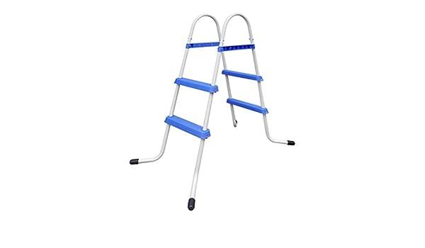 FAMIROSA Escalera de Piscina Marco de Acero con Pasos Antideslizantes 86,5 cm: Amazon.es: Hogar