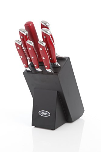 Oster Garnett 8 Piece Cutlery Set, Stainless Steel with Forged Polished Red Handles