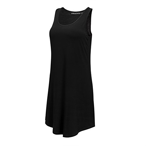 OThread & Co. Women's Nightdress Comfy Sleepwear Knit Nightshirt Sleeveless Scoop Neck Nightgown (Small, Black)