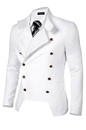 COOFANDY Men's Casual Double-Breasted Jacket Slim Fit Blazer (Large, White(FBA))