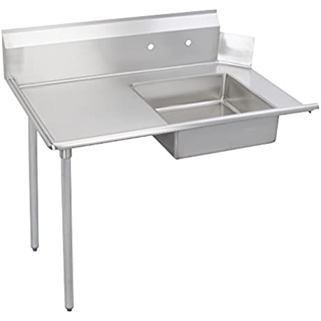 Fenix Sol Stainless Steel Commercial Kitchen Soiled Dish Table Left Side 30 W X 60 L X 44 H Galvanized Steel Legs
