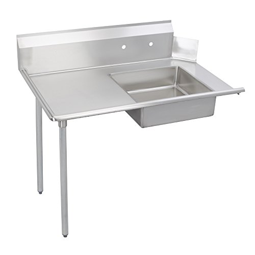 Fenix Sol Stainless Steel Commercial Kitchen Soiled Dish Table, Left Side, 30''W x 72''L x 44''H, Galvanized Steel Legs by Fausett International