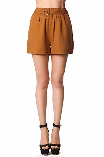 Q2 Women's Strukturierte Tencel-Shorts mit hohem Bund und Gürtel in Senfgelb