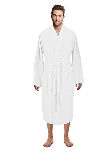 - Premium Turkish Cotton Waffle Weave Lightweight Kimono Spa Bathrobe for Men (White, Small)