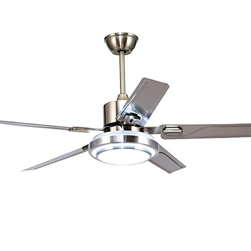 (5 Blade Stainless Steel Remote Control Ceiling Fan 3 Lights Dimming Reversible Rotating LED Fan Ceiling Light Indoor Mute Energy-Ssaving Fan Chandelier)