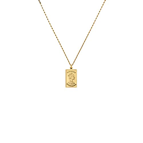 (Luccaful Gold Color Queen Elizabeth Pendant Chokers Necklaces Metal Brass Square Layered Necklaces Female Choker OneSize)