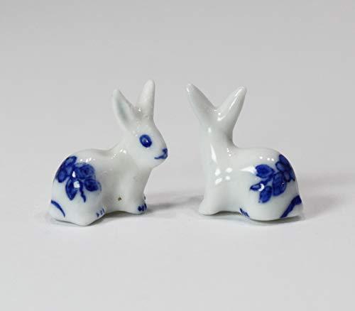 Dollhouse Miniature Set of 2 Porcelain Blue and White Bunny Rabbits (Porcelain Bunny Doll)