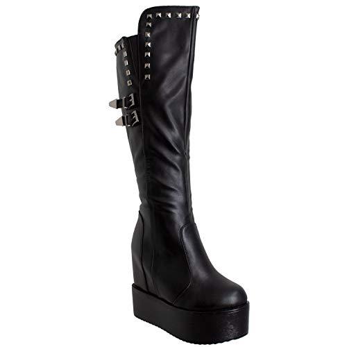 (Generation Y Womens Knee High Boots Square Stud Buckle Strap Platform Wedge Shoes Flatforms Black SZ 7)