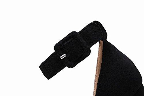 Carolbar Femme Boucle Boucle Cheville Bout Ouvert Applique Mi-talon Sandales Noir