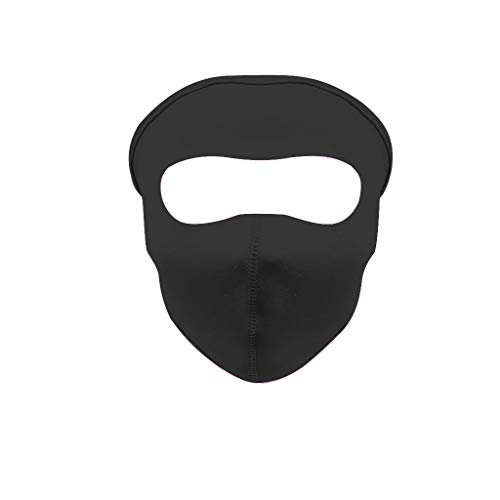 (COM1950s Brand New and Summer Sports Sun UV Protection Ultra Thin Ice Silk Sunscreen Outdoor Full Face Mask (Black, 22.5x15.5cm))