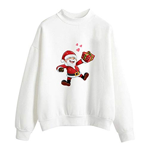 Chunky Newborn Cocoon - GOVOW Christmas Japanese Sweater for Women Print Long Sleeve Ladies Blouse Pullover Tops Shirt Sweatershirt