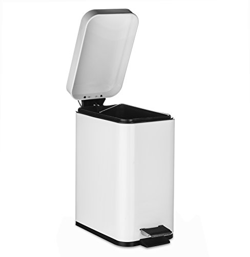 AMG and Enchante Accessories, Rectangular Waste Bin, 5L Garbage Trash Can with Step Foot Pedal, WB01W WHT, Glossy White by AMG