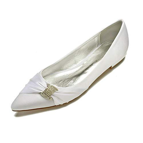 on Damen Slip Elfenbein Flats Wedding MarHermoso Ballerinas Satin Elegant Shoes qXxdwO77A