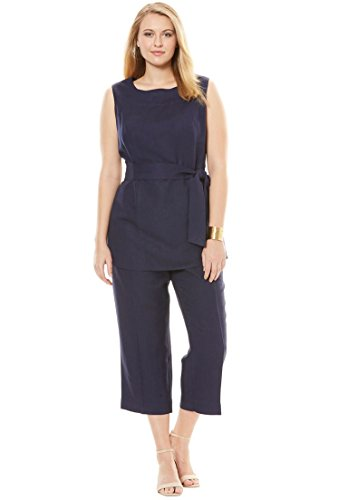 Jessica London Women's Plus Size Linen Blend Capri Set Navy,20 (Pants Tunic & Cropped Set)