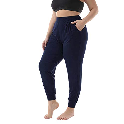 FEDULK Plus Size Womens Trousers Elastic Stretch Beam Long Paragraph Casual Pants with Pocket(Navy, XXX-Large)