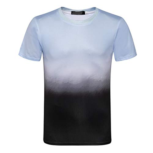 HYIRI Men's Summer New Gradient Softstyle Colour Round Neck Short Sleeves Fashion Blouse Top Black