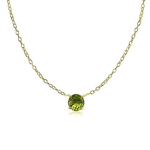 Yellow Gold Flashed Sterling Silver Small Dainty Round Peridot Choker Necklace - Peridot Gemstone Round Shape