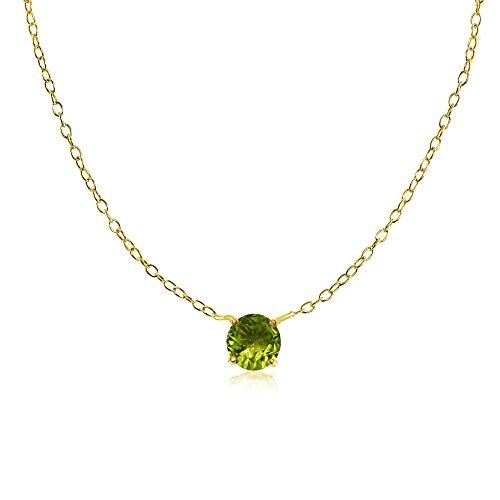 Yellow Gold Flashed Sterling Silver Small Dainty Round Peridot Choker Necklace