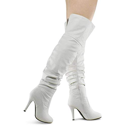 Forever Womens Over The Knee Fashion Boot Shoes White 8.5]()