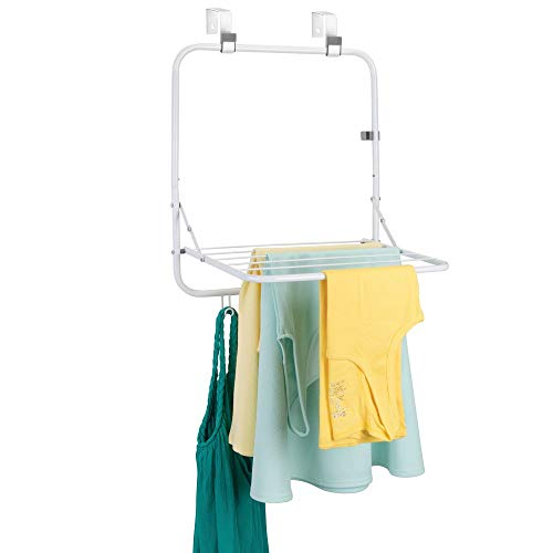 mDesign Metal Lightweight Over Door Laundry Drying Rack Organizer with Storage Hooks - for Indoor Air Drying and Hanging Clothing, Towels, Lingerie, Hosiery, Delicates - Folds Compact - White/Gray