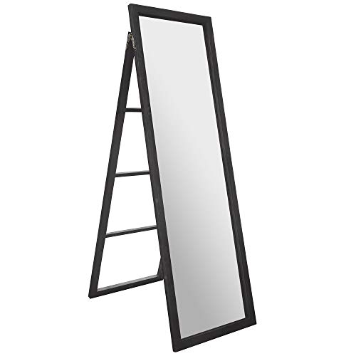 "Everly Hart Collection 22"" x 70"" Classic Black Full Length Wood Ladder Standing Easel Mirrors Brown"