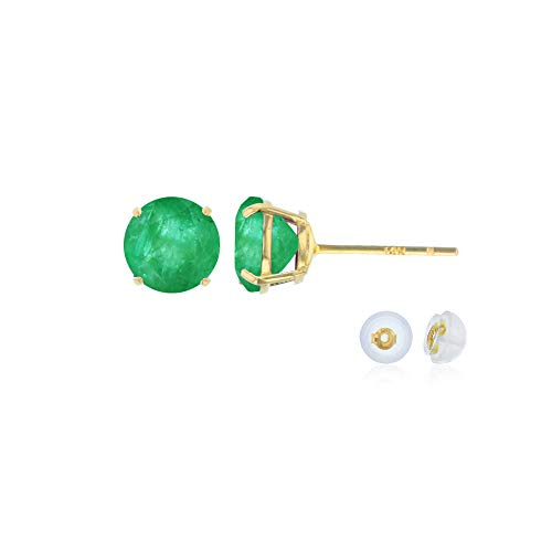 Genuine 10K Solid Yellow Gold 4mm Round Natural Green Emerald May Birthstone Stud Earrings
