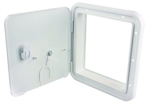 JR Products 22D32-A Large 30/50 Amp Thumb Lock Electric Cable Hatch, Polar White