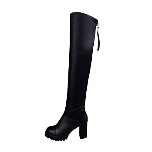MML Fashion Leather Over Knee Boots, Women Toe Elastic Stretch Thick Heel Boots Black