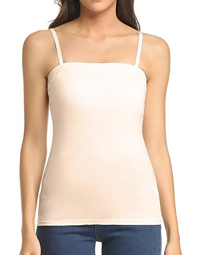 Tank Tops for Women Removable Strap Camisole with Built in Padded Bra Vest Cami Sleeveless Top Beige M -