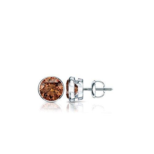 14k White Gold Round Brown Diamond Bezel Stud Earrings (1/3 ct, Brown, SI1-SI2) Screw-Back Bezel Brown Earrings