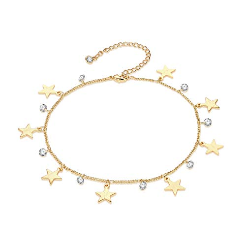 - LOYATA Dainty Ankle Bracelet, Tiny Star Dangle Anklets Bead Anklet Dainty White Cubic Zirconia Star Tassel Foot Chain Lucky Star Cute 14K Gold Plated Foot Jewelry Boho Anklets for Women (Star)