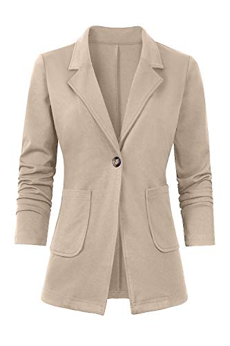 (Women's Casual Work Office Blazer Open Front Long Sleeve Cardigan Jacket Apricot)