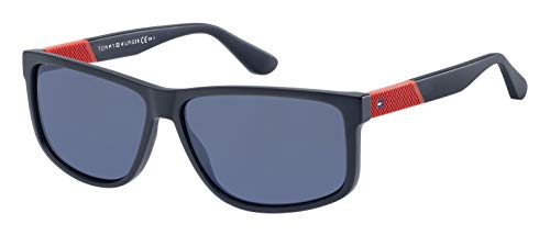 Tommy Hilfiger Men's Th1560s Rectangular Sunglasses, Matte Blue, 60 ()