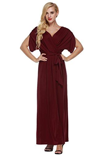 Damen V-Ausschnitt Dolmanärmel Sommerkleid Rockabilly Cocktailkleid Stretch Abendkleid